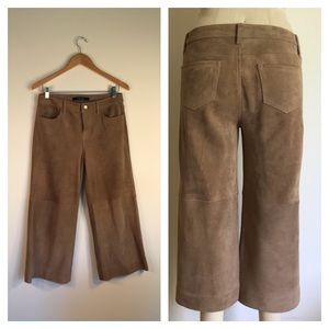J Brand wide leg cropped pants suede brown sz 25